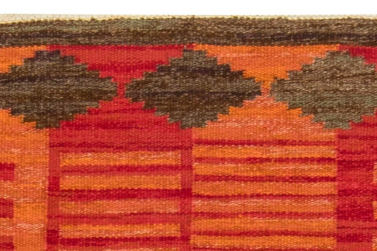 Midcentury Swedish Red, Orange and Brown Flat-Woven Rug by Karin Jönsson In Good Condition For Sale In New York, NY