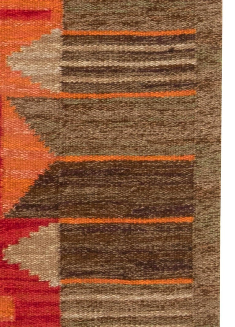 20th Century Midcentury Swedish Red, Orange and Brown Flat-Woven Rug by Karin Jönsson For Sale