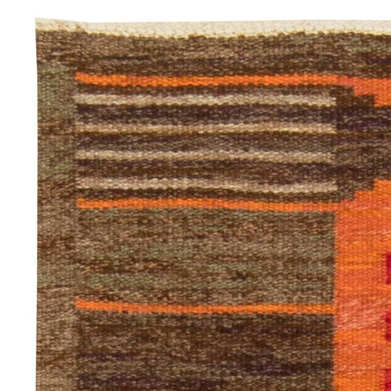 Wool Midcentury Swedish Red, Orange and Brown Flat-Woven Rug by Karin Jönsson For Sale