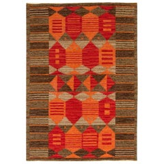 Midcentury Swedish Red, Orange and Brown Flat-Woven Rug by Karin Jönsson