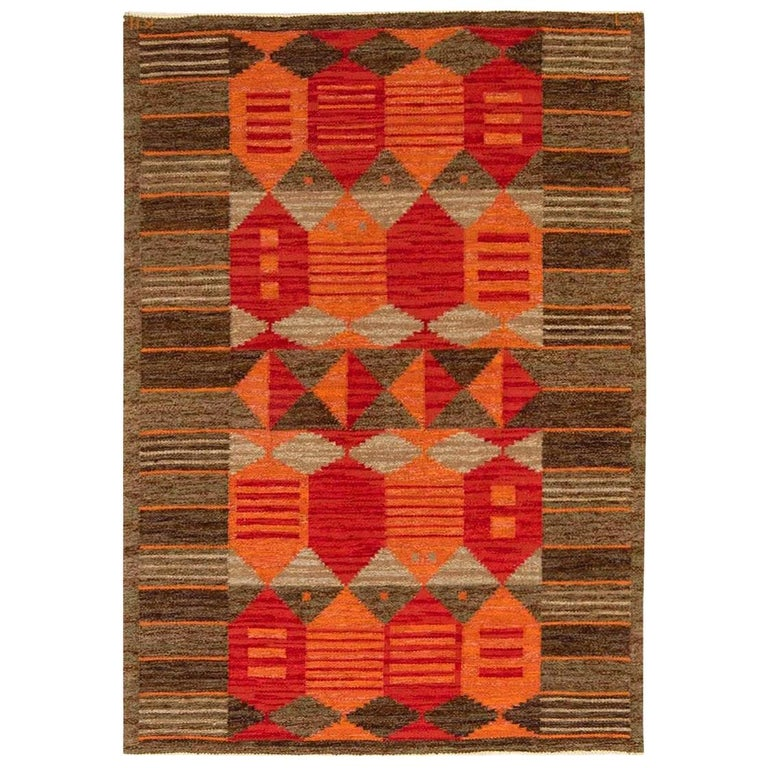 Midcentury Swedish Red, Orange and Brown Flat-Woven Rug by Karin Jönsson For Sale