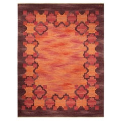 Midcentury Swedish Rölakan Rug in Red, Terracotta and Brown by Judith Johansson