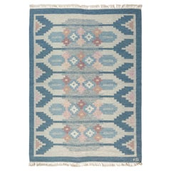 Midcentury Swedish Rug by Ingegerd Silow, Woven Signature on Blue Border 'IS'
