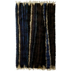 Midcentury Swedish Rug by Ingrid Dessau in Black, Navy, Green and Ivory Stripes