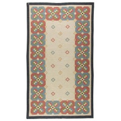 Midcentury Swedish Rug by Judith Johansson in Beige, Green, Blue and Red