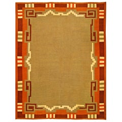 Midcentury Swedish Rug in Green, Beige, Orange and Brown