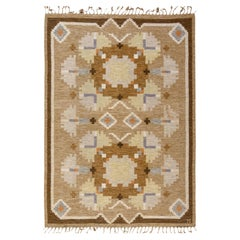 Midcentury Swedish Rug in Shades of Brown byIngegerd Silow with Signature'IS'