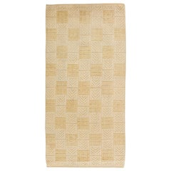Midcentury Swedish Rug with High Low Geometric Design in Ivory and Pale Yellow