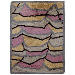 Midcentury Swedish Rya Abstract Rug in Pink, Caramel, Gray, and Black