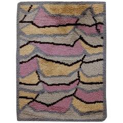 Midcentury Swedish Rya Abstract Rug in Pink, Caramel, Gray, and Black