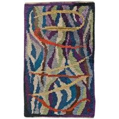 Midcentury Swedish Rya Wool Rug in Purple, Blue, Green and Yellow