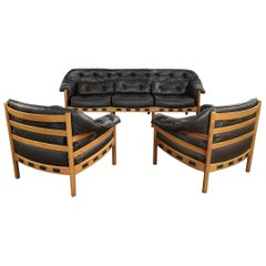 Midcentury Swedish Seating Group in Teak and Leather by Arne Norell, 1950s