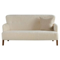 Midcentury Swedish Sofa in Great Plains Ivory Mohair