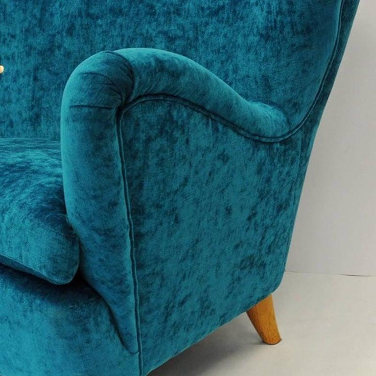 Scandinavian Modern Midcentury Swedish Sofa in Seagreen Plush, 1940s For Sale
