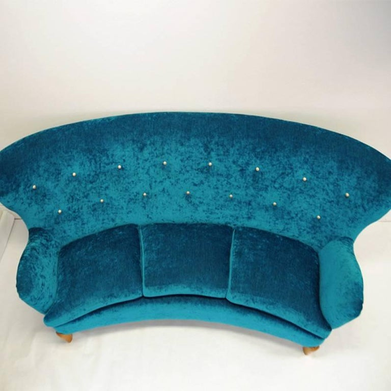 Brass Midcentury Swedish Sofa in Seagreen Plush, 1940s For Sale