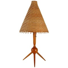Midcentury Swedish Teak and Rattan Table Lamp, 1950s