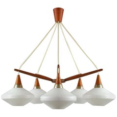 Midcentury Swedish Teak and Satin Glass Chandelier by ASEA, 1960s