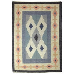 Midcentury Swedish Wool Rug by A.J. in Blue, Pink and Ivory