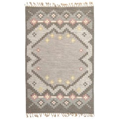 Midcentury Swedish Wool Rug by Grannsjo Carlsson in Gray, Taupe, and Pink