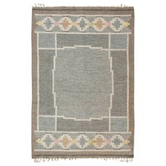 Midcentury Swedish Wool Rug in Neutral Colors by Ingegerd Silow 'IS'