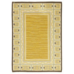Midcentury Swedish Yellow and Brown Flat-Weave Wool Rug