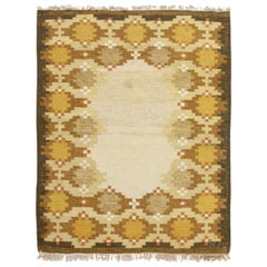 Midcentury Swedish Yellow, Beige and Brown Flat-Weave Rug