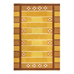 Midcentury Swedish Yellow, Brown and White Handwoven Wool Rug