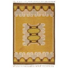 Midcentury Swedish Yellow, Brown & Beige Flat-Weave Rug Signed by Ingegerd Silow