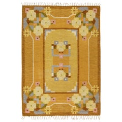 Midcentury Swedish Yellow Flat-Weave Wool Rug Signed by Ingegerd Silow