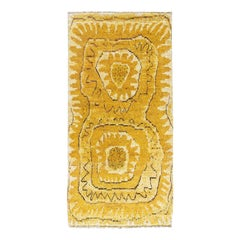 Midcentury Swedish Yellow Hand Knotted Wool Rya Rug by Marta Maas-Fjetterstrom