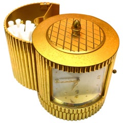 Midcentury Swiss Made Luxor Brass Table Clock and Concealed Cigarette Case