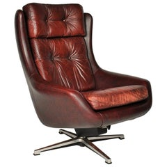 Midcentury Swivel Leather Armchair, Peem, Finland, 1970s