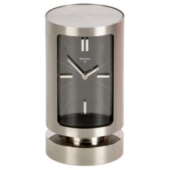 Midcentury Swiza 8 Day Swiss Chromed Steel Table Clock with Alarm Clock, 1960s