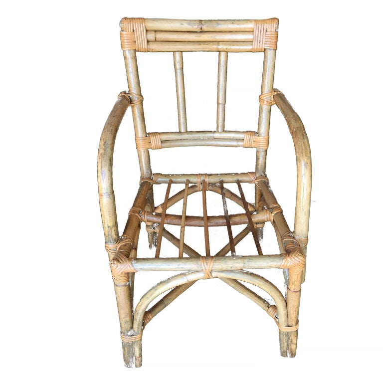 Mid-Century Modern Midcentury Swoop Arm Rattan Armchair with Triple Pole Back For Sale