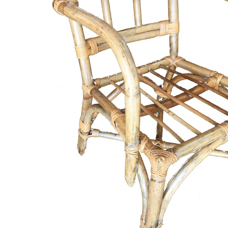 American Midcentury Swoop Arm Rattan Armchair with Triple Pole Back For Sale
