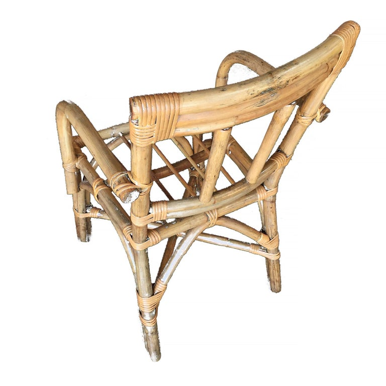 Midcentury Swoop Arm Rattan Armchair with Triple Pole Back In Good Condition For Sale In Van Nuys, CA
