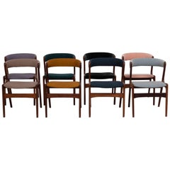 Mid Century Modern Solid Teak T21 Fire Chairs by Korup, Set of 8