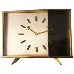 Midcentury Table Clock Attributed to Jaeger-LeCoultre, Switzerland
