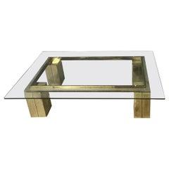 Midcentury Table in Golden Metal and Glass Top, Italian Design, 1970s