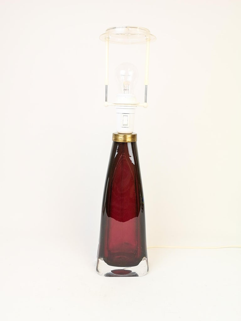 Mid-Century Modern Midcentury Table Lamp by Carl Fagerlund for Orrefors Sweden RD 1323 For Sale