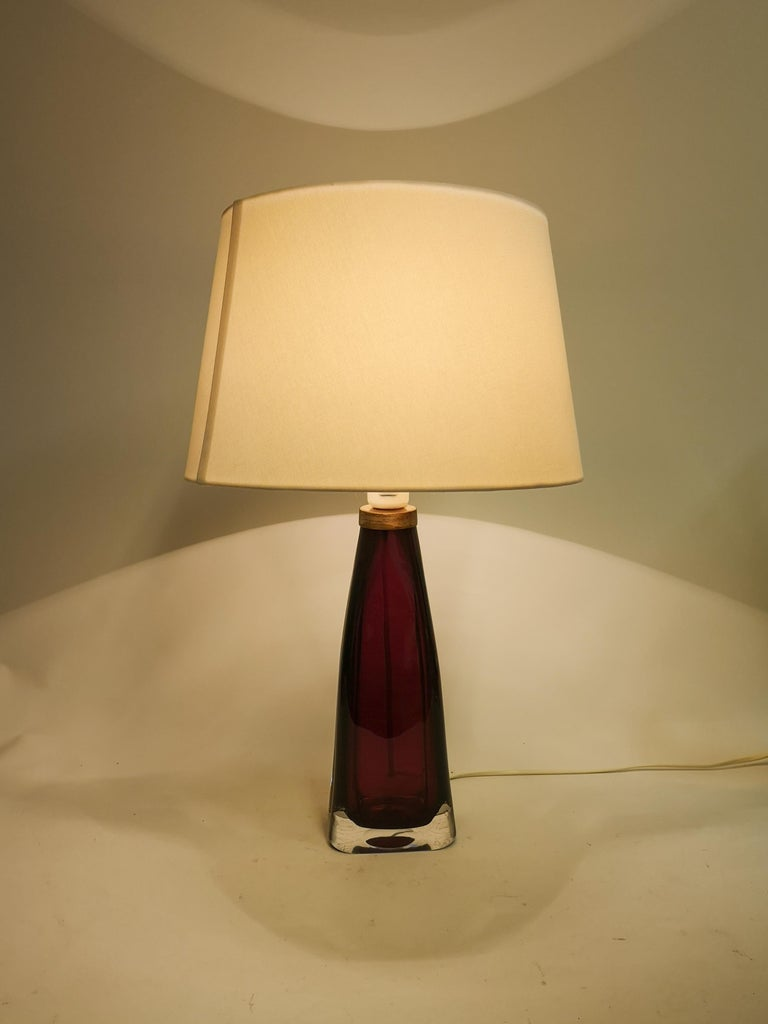 Crystal Midcentury Table Lamp by Carl Fagerlund for Orrefors Sweden RD 1323 For Sale