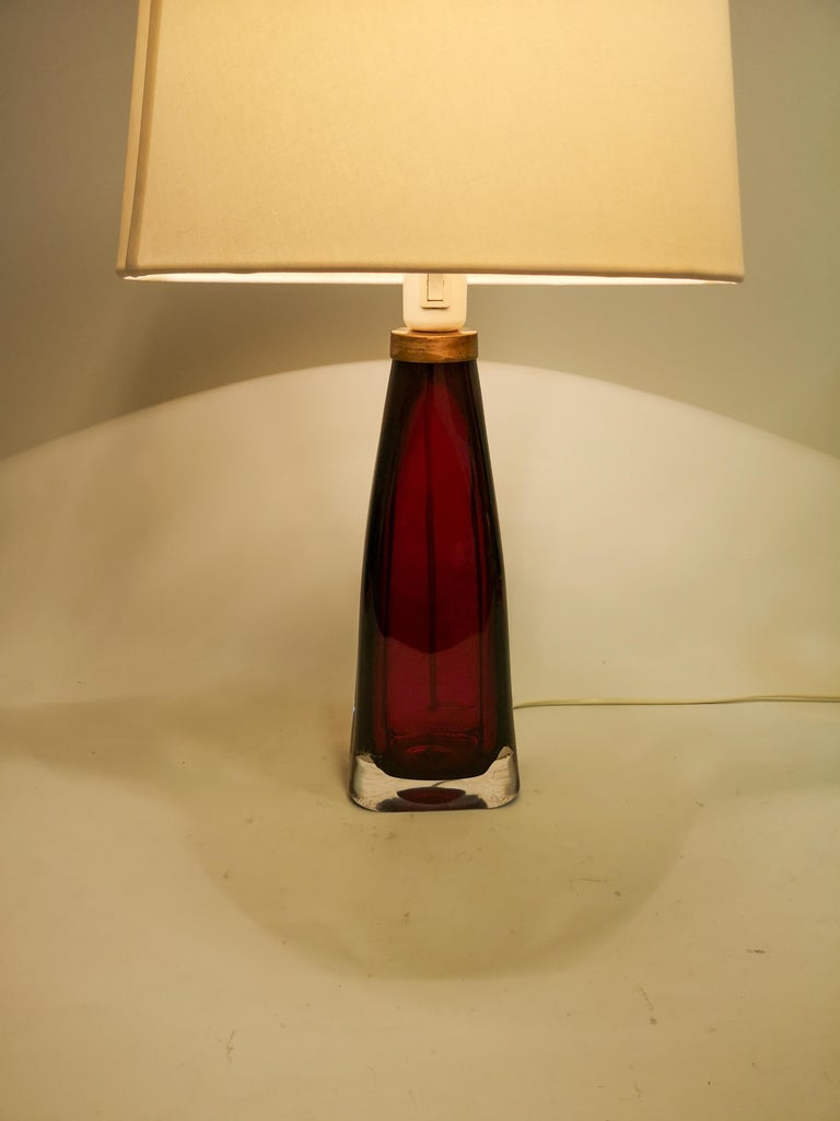 Midcentury Table Lamp by Carl Fagerlund for Orrefors Sweden RD 1323 For Sale 1