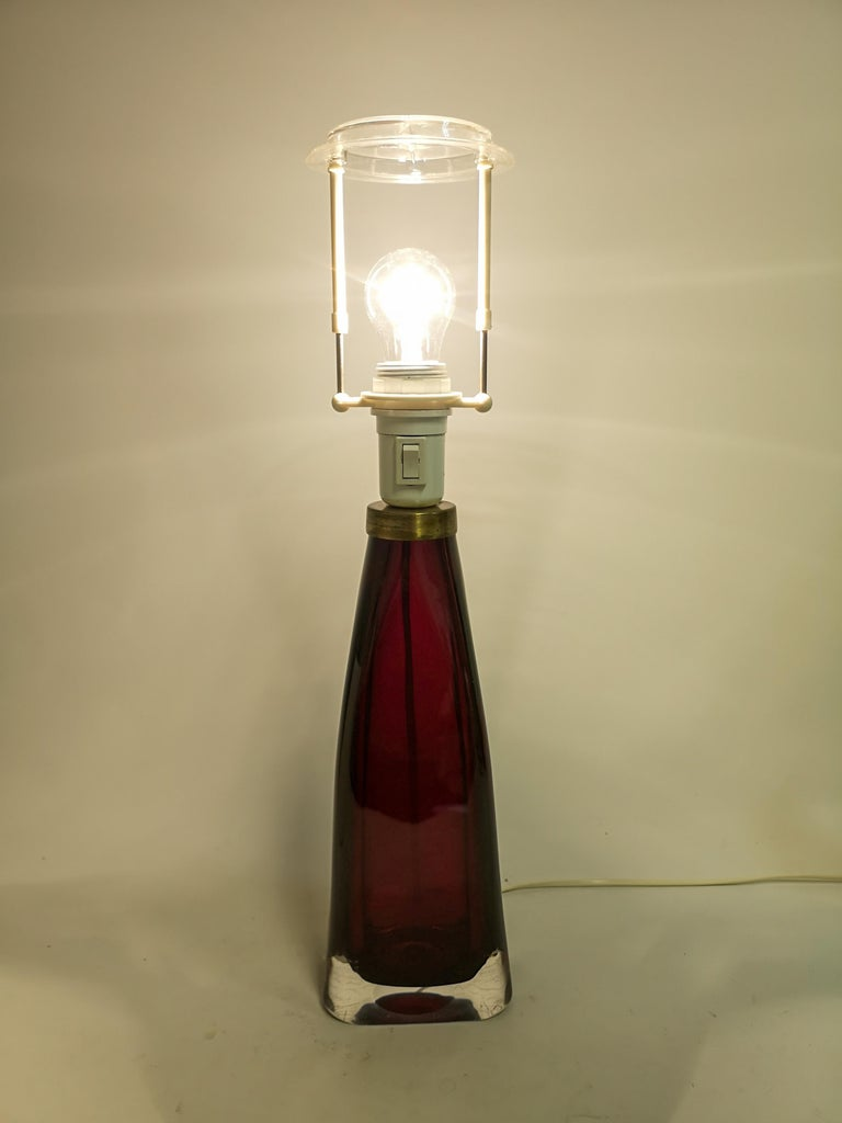 Midcentury Table Lamp by Carl Fagerlund for Orrefors Sweden RD 1323 For Sale 2