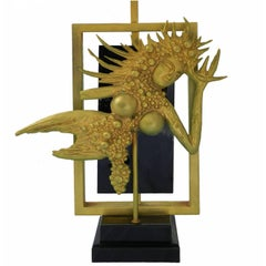 Midcentury Table Lamp, circa 1970 Black Gold Gilt Metal and Lucite Goddess Diety