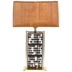 Midcentury Table Lamp with Antique Chinese Abacus in a Brass Frame Work