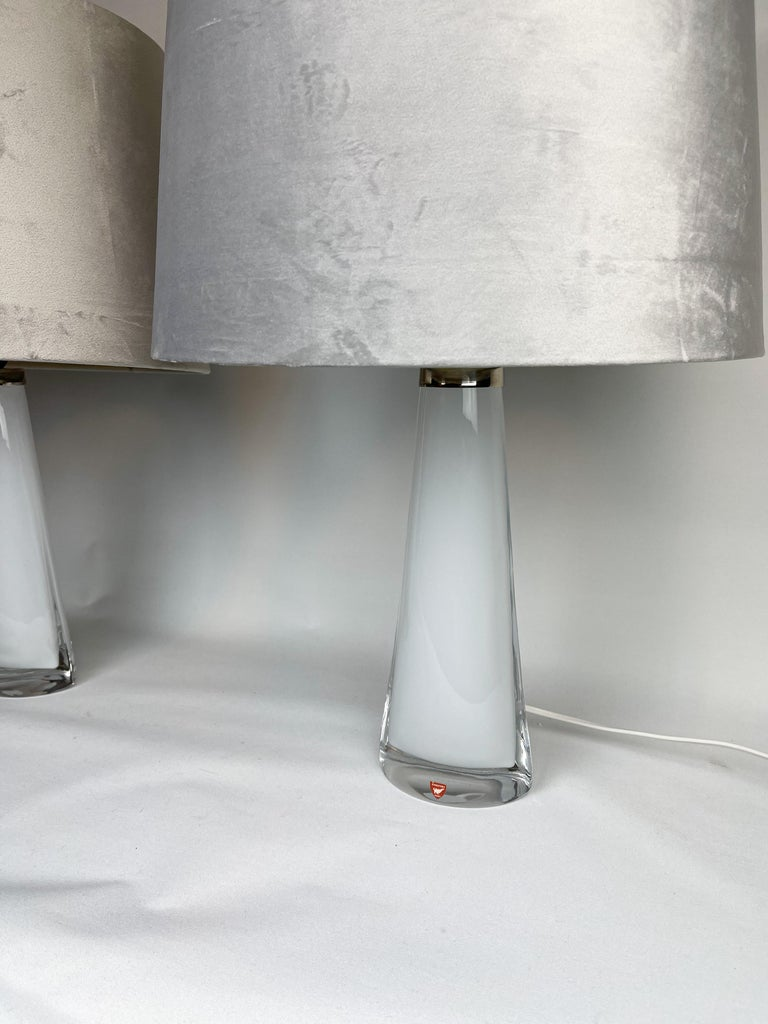 Swedish Midcentury Table Lamps by Carl Fagerlund for Orrefors Sweden RD, 1566 For Sale