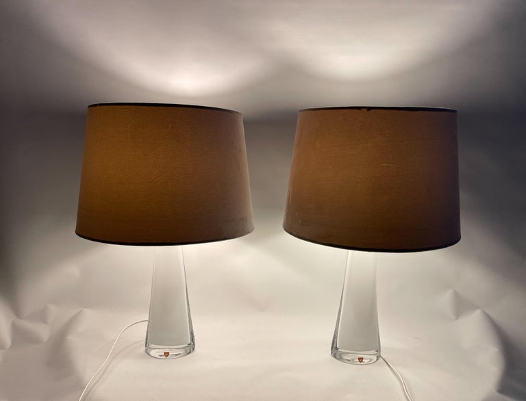 Crystal Midcentury Table Lamps by Carl Fagerlund for Orrefors Sweden RD, 1566 For Sale