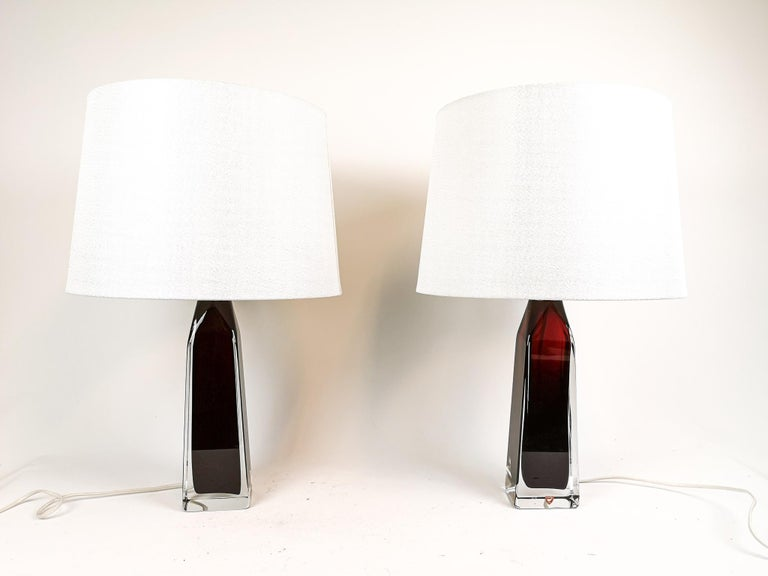 Mid-Century Modern Midcentury Table Lamps by Carl Fagerlund for Orrefors Sweden RD 1884 For Sale
