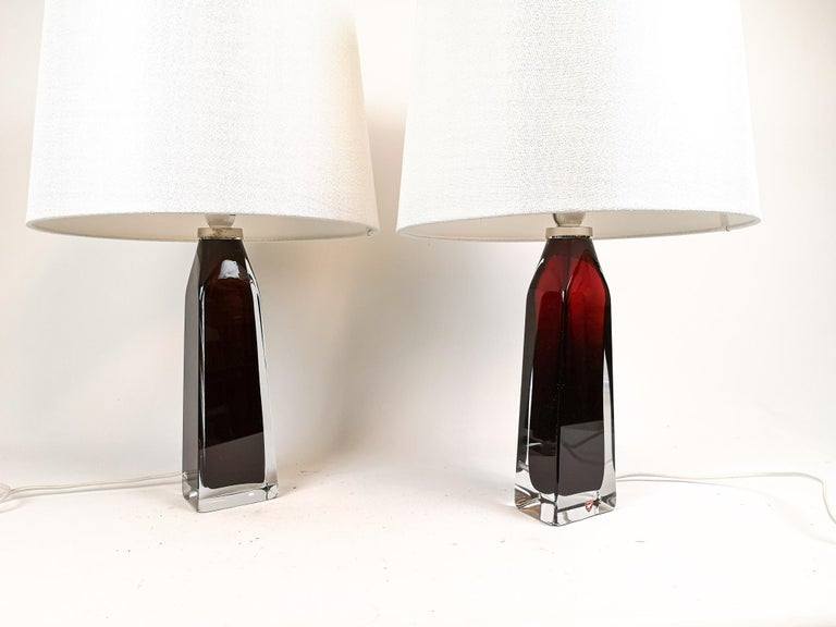 Swedish Midcentury Table Lamps by Carl Fagerlund for Orrefors Sweden RD 1884 For Sale