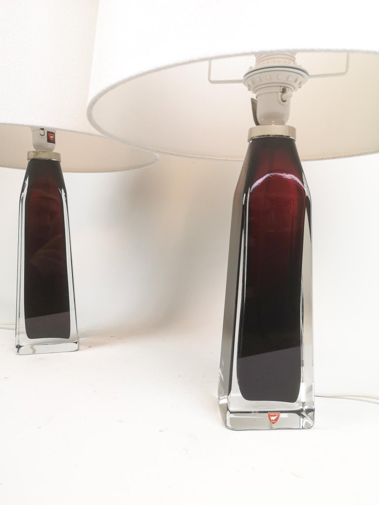 Midcentury Table Lamps by Carl Fagerlund for Orrefors Sweden RD 1884 In Good Condition For Sale In Langserud, SE